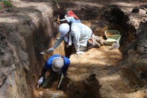 昨年度の調査区(埋没沢付近)の壁面についた砂を掻いて落としているところです。